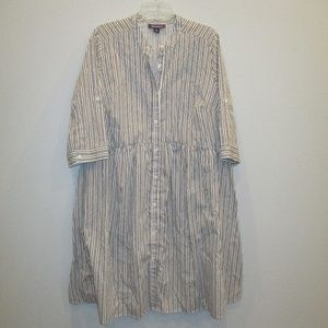 Roaman's Shirt Dress 20W White/Black/Pink Stripe